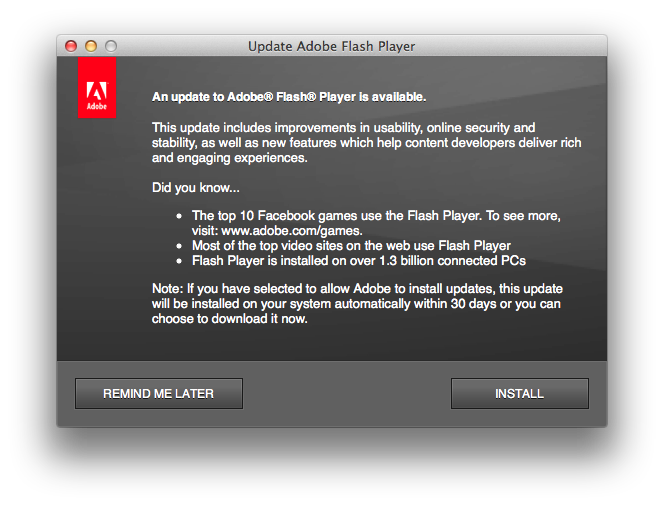Adobe Flash Upgrade Dialog